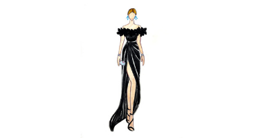 60min Fashion Sketching Lesson - Off Shoulder Gown